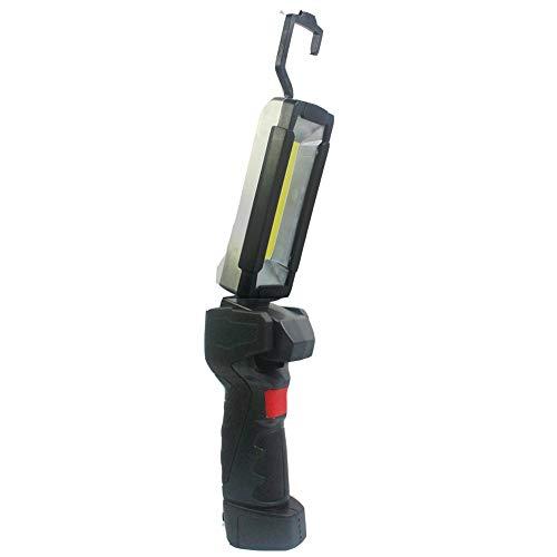 Luz de trabajo de inspección LED recargable por USB, inalámbrico, de mano, COB + linterna de trabajo LED con base de gancho de imán para colgar, 5 modos, iluminación multiángulo, diseño compacto, antideslizante, color negro