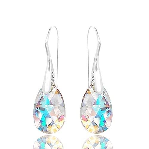 PPuujia Pendientes colgantes de gota de agua con cristales azules de aurora boreal para mujer, para fiesta de cumpleaños, boda, regalo de joyería (color metálico: azul)