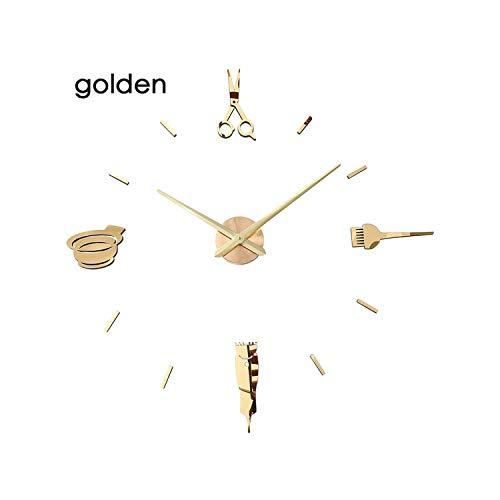 Fyttq Clocks for Elderly Luminous 3D Wall Clock Large Clocks Modern Design Watch Sticker Mirror Hairdresser's Hairdressing Barber's Haircut,Wall Clock Golden,47inch