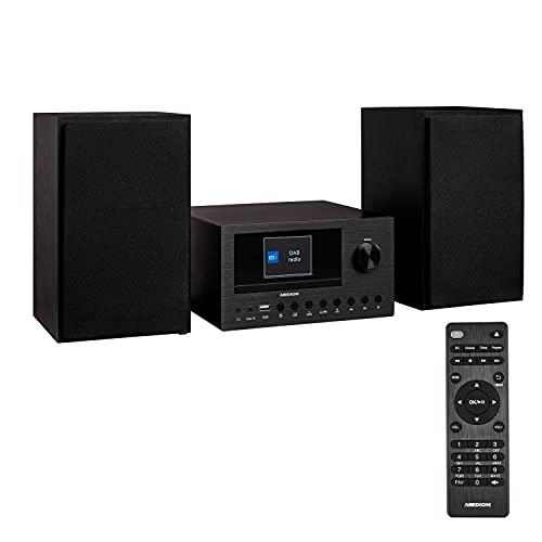 MEDION P85003 Micro Audio System Kompaktanlage (Internetradio, DAB+, PLL UKW Radio, Bluetooth, USB Anschluss, AUX, 2x150 W) schwarz