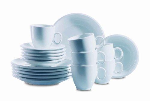 Domestic by Mäser, Serie Tim, Kaffeeservice 18-teilig mit je 6 Tassen, Untertassen, Dessertteller, weißes Basic-Geschirr in klassischer Form