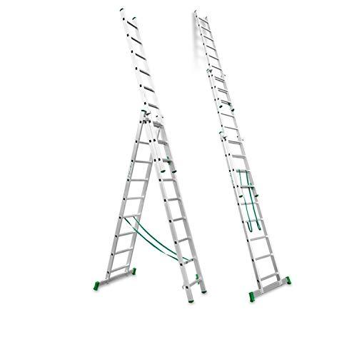 Escalibur | ES.TRIPLE | Escalera de Aluminio | Escalera 9 Peldaños | 260x90x15 cm |Amplia base estabilizadora| Peldaños antideslizantes |Máxima seguridad| Fácil Transporte