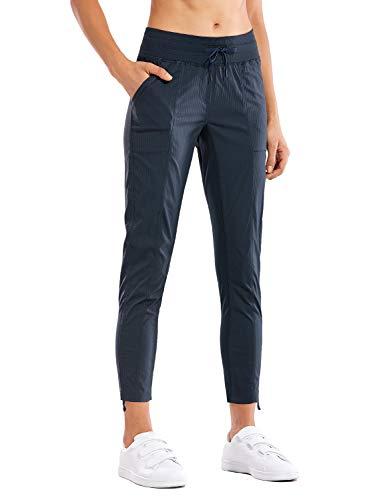 CRZ YOGA Pantalones de deporte para mujer, diseño de rayas, con cordón, 7/8, estilo informal, con bolsillos, Azul tinta, L