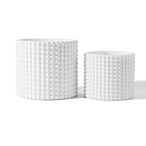 White Ceramic Vintage Style Hobnail Patterned Planter Pots – 6 and 5 Inch Containers with Watering Drain Plug for Indoor Succulent Plants or Flowers