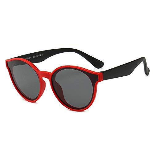DLSM Kinder Sonnenbrille Matte Soft Silicona Polarisierte Kinder Sonnenbrille Baby Mädchen 3-8 Jahre Brille UV400-rotes schwarzes Bein