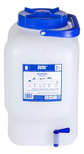 Plastex Wasserbehälter 20L lebensmittelecht BPA frei Weithals Kanister mit Zapfhahn, große Öffnung, geeignet für Camping und Wohnwagen