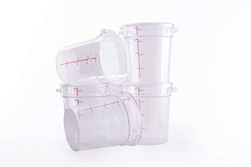 Hakka 4 Qt Commercial Grade Round Food Storage Containers with LidsPolycarbonateClear - Case of 5