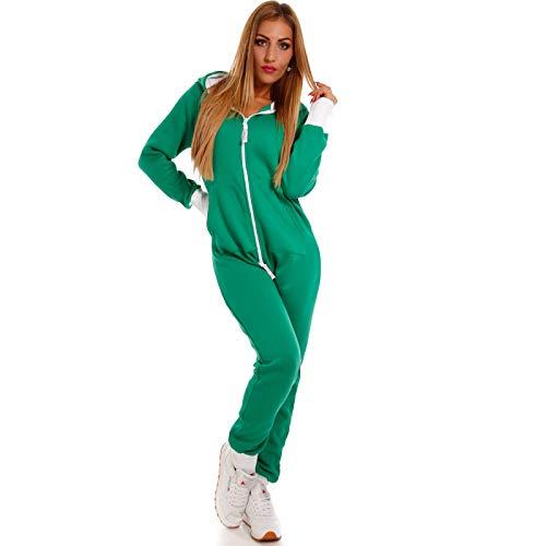 Crazy Age Basic Jumpsuits Ganzkörperanzug Einteiler One Piece Schlafanzug Mini Jumpsuit Kurz (S, Grün)