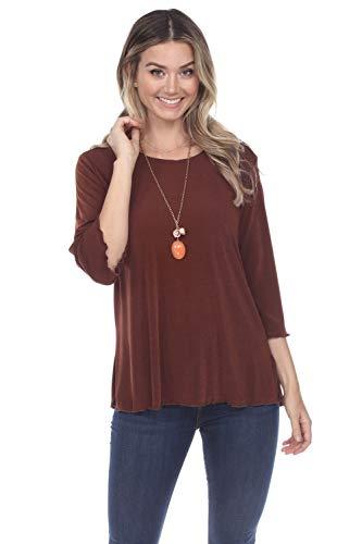Jostar Women's Stretchy Merrow Top Quarter Sleeve Large Brown