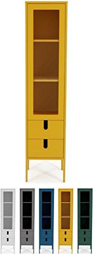 tenzo 8566-029 UNO Designer Vitrine 1 Porte, 2 tiroirs, Moutarde, MDF Particules ép. 19 et 16 mm Panneau arrière laqué. Poignées en matière Plastique, 178 x 40 x 40 cm (HxLxP)