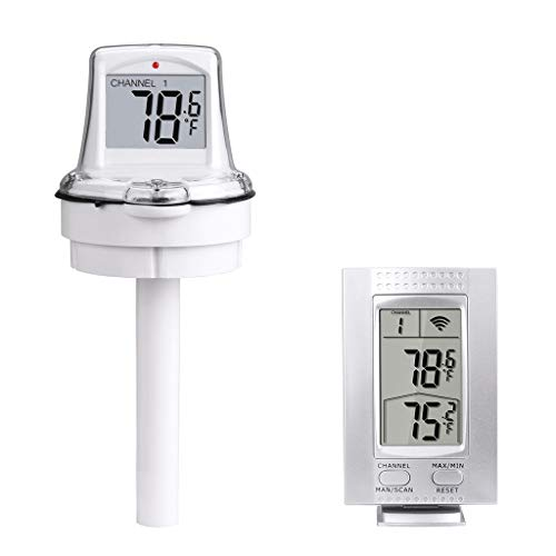 Malibure White LCD Floating Thermometer, Wireless Digital Remote Outdoor Swimming Pool Thermometer (Built-in Battery)