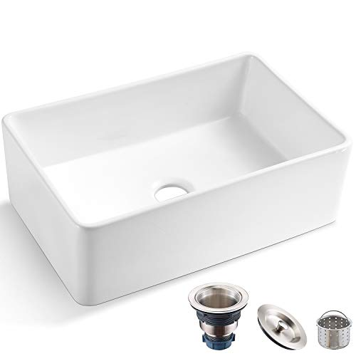 Koozzo 30-Inch Farmhouse Ceramic Kitchen Sink, Reversible Single Bowl Farm Sink with Strainer