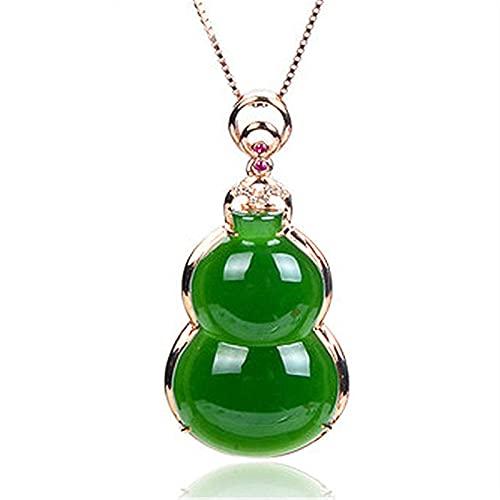 YUXIwang Pulsera verde natural Hetian Jade Gourd colgante 925 collar de plata tallada china encanto joyería moda amuleto para las mujeres regalos de la suerte