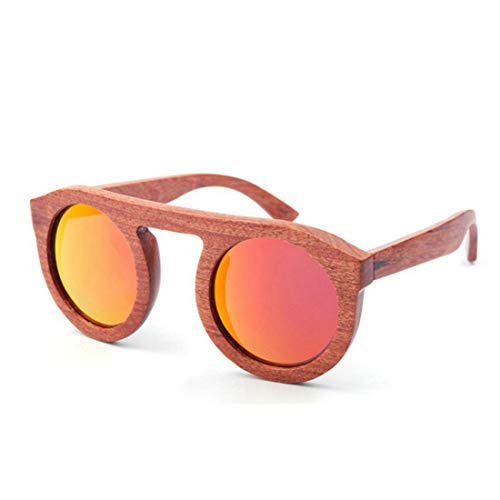 XIAOTANBAIHUO Anteojos Color marrón lindo Gafas de sol de madera para mujer Redondo Hecho a mano de alta calidad Lente TAC polarizada Protección UV Personalidad Conducir Vacaciones Pesca Playa Gafas d