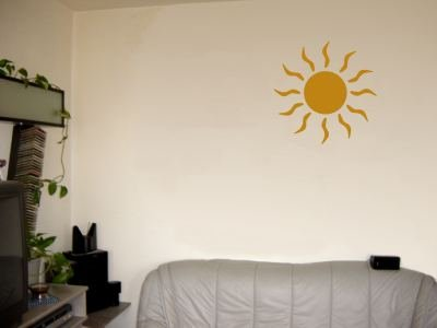 Wandtattoo / Wandaufkleber grosse Sonne; Farbe Gold