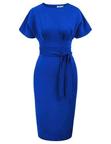 JASAMBAC Work Office Dresses for Women 50s 60s Pencil Business Dresses Royal Blue XL