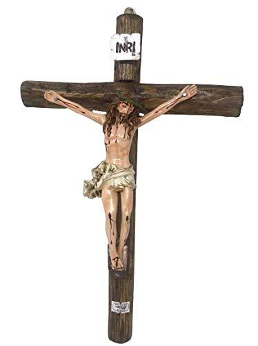 """Small Jesus En La Cruz Crucifijo 15""""L x 10""""W Tronco De Madera Rustica, Wall Wooden Crucifix, New"""