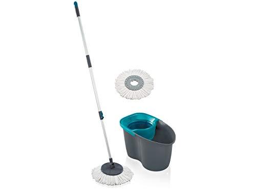 Leifheit Set Clean Twist Disc Mop 60 Years Edition lagoon, Wischer für nebelfeuchte Reinigung, Wischmopp mit Schleudertechnologie, Schleudermop ohne Fußbedienung, Bodenwischer mit Click-System