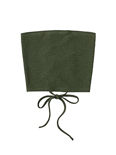 SheIn Women's Sleeveless Strappless Bandeau Self Tie Back Glitter Crop Tube Top Green Medium