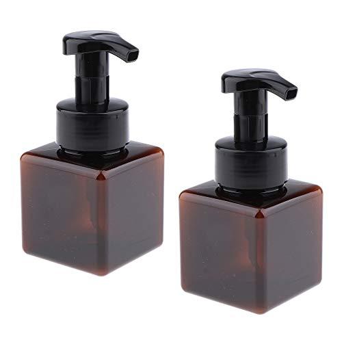 yotijar Botella Cosmética Vacía de 2pcs 250ml con La Botella Plástica del Viaje de La Bomba - marrón, Individual