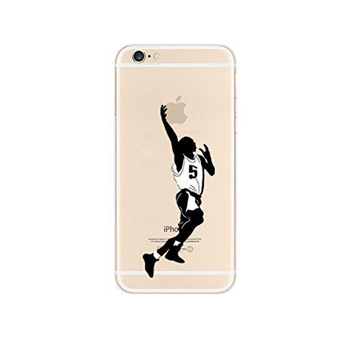 NOVAGO - Compatible con iPhone 6, iPhone 6S- Carcasa Funda Gel de Silicona Resistente irrompible con Motivos(Baloncesto)