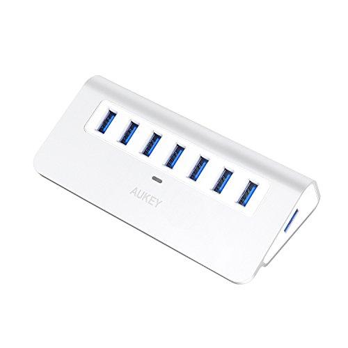 AUKEY USB3.0 Hub 7 Ports mit Netzteil Aluminum kompatibel mit Windows XP/Vista/7/8 / Linux und Mac, für USB 3.0 kompatiblen Geräten Apple Stil