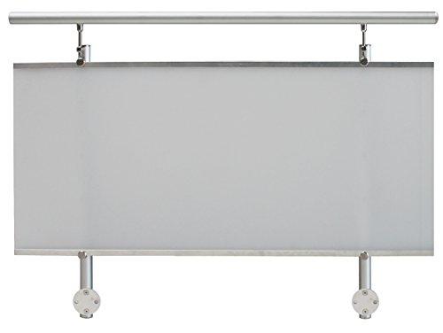 TREBA / FREWA Aluminium Geländerset mit Acrylglas, seitliche Montage, 1 Stück, weiß satiniert, AF3 130.08.0112