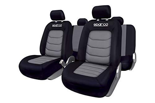 Sparco SPC1019GR Set di Coprisedili per Auto, Compatibili con Airbag, Grigio/Nero