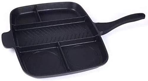 GJJSZ 15 Zoll Bratpfanne Rote Pfannen Ofen & Geschirrspüler Antihaft-Bratpfanne 5 in 1 Geteilte Grillpfanne für All-in-One gekochten Frühstückstopf