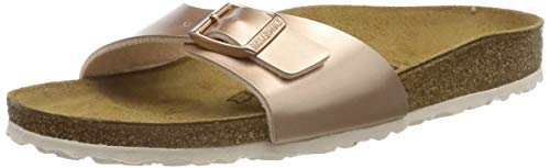 BIRKENSTOCK Unisex Madrid Birko-flor Pantoletten Narrow Fit , Braun (Electric Metallic Copper Electric Metallic Copper) , 38