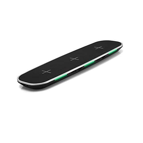 Docooler 3-in-1 Qi draadloze oplader, universeel laadstation, met 2 USB-oplaadpoorten voor iPhone 8/8 Plus/X of, Blanco Y Gris