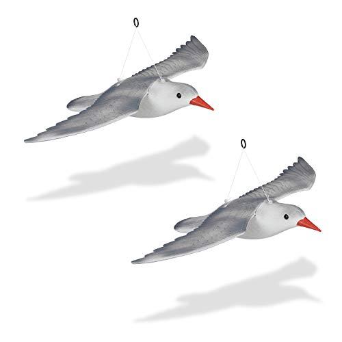 Relaxdays 2 x Vogelschreck Möwe, fliegend, zum Aufhängen, Dekofigur, Taubenschreck für Garten, Balkon, Terrasse, weiß/grau