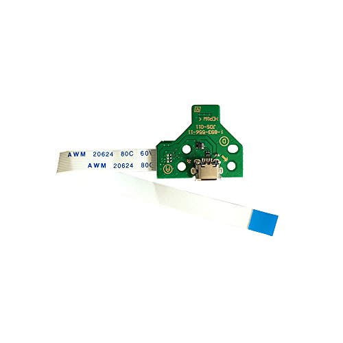 Rinbers USB Charging Port Socket Board JDS-011 for Sony PS4 2nd Gen Controller with 12 Pin Power Switch Ribbon Cable