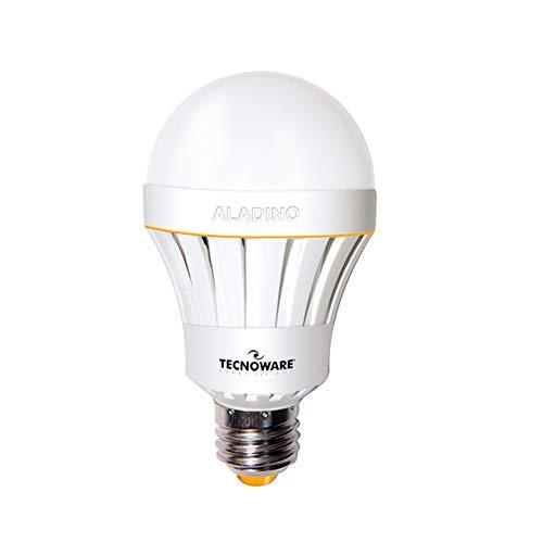 Tecnoware Aladino Lampada a Led a Batteria - Potenza 10W - Corpo Illuminante A65, Attacco E27 - Luce Naturale 4000K