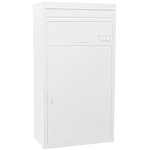 Paketbriefkasten weiß mit Paketfach und Briefeinwurf, Safepost 65, Stand-Briefkasten modern, freistehender Postkasten groß/XXL Paket-Box, abschließbar, modernes Design