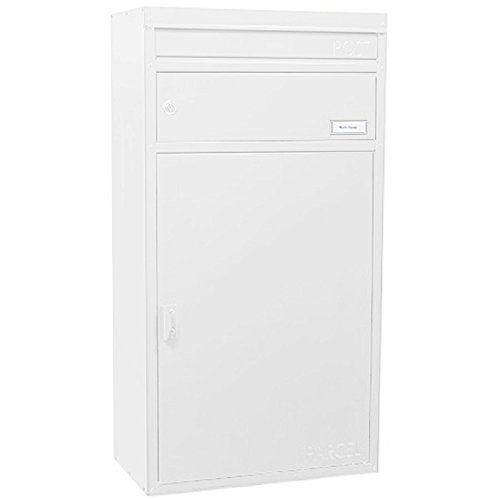 Paketbriefkasten weiß mit Paketfach und Briefeinwurf, Safepost 65, Stand-Briefkasten modern, Postkasten groß/XXL Paket-box, abschließbar, frei-stehend, modernes Design