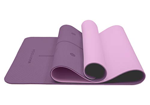 MAXYOGA® Esterilla Yoga de Medida Grande 183cm x 66cm x 6mm y Líneas de Alineación grabadas a Las