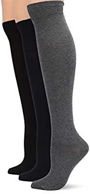 HUE womens Flat Knit Knee 3 Pack Casual Socks, New Graphite Heather, One Size US