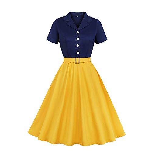 MisShow Damen 1950er Rockabilly Kleider Petticoat Kleid Vintage Kleider Retro Festliches Partykleider Gelb 2XL
