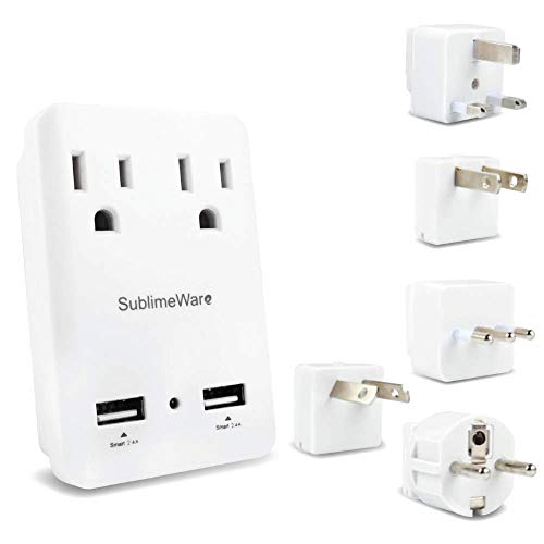 2000 W Travel Adapter Kit w/ 2 USB Ports & Outlets - International Power Adapter Plug Europe US UK Adaptor - 220-110V Adapter - Smart 2.4 A USB Electrical Charger Dual Voltage Device Sublimeware