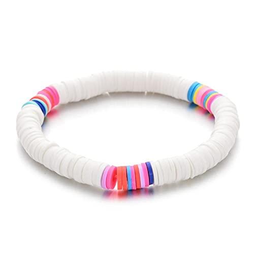 Pulsera elástica colorida de playa de verano bohemia, cuentas de arcilla polimérica, utilidad para usar pulseras de tobillo para mujeres