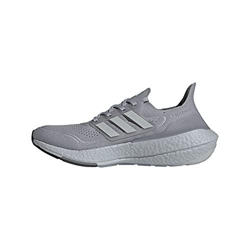 adidas Men's Ultraboost 21 Running Shoes, Halo Silver/Grey/Solar Yellow, 11.5