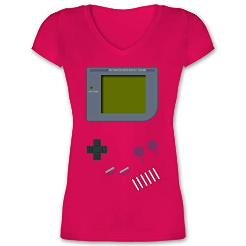 Nerds & Geeks - Gameboy - XL - Fuchsia - Shirt 90er - XO1525 - Damen T-Shirt mit V-Ausschnitt