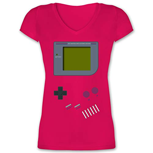 Nerds & Geeks - Gameboy - XXL - Fuchsia - 90er Jahre Outfit - XO1525 - Damen T-Shirt mit V-Ausschnitt