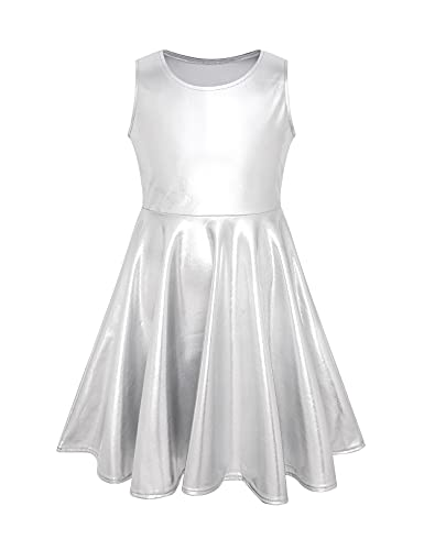 Luckygal Girls Silver Metallic Dresses Sparkly Shiny Party Twirl Dress Halloween Outfits, 8 9 Years