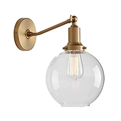 """Permo Industrial Vintage Slope Pole Wall Mount Single Sconce with 7.9"""" Globe Round Clear Glass Shade Wall Sconce Light Lamp Fixture"""