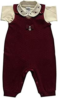 Macacão para bebê menina malha pontilhe manga Longa-m