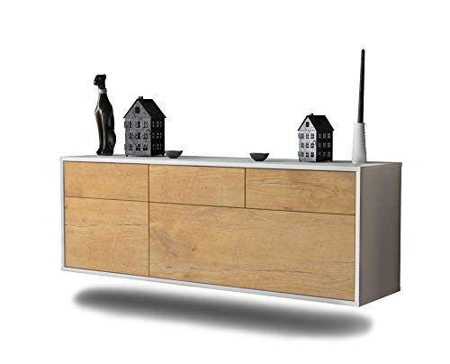 Lowboard Tulsa hängend (136x47x35cm) Korpus weiß matt   Front Holz-Design Eiche   Push-to-Open   hochwertige Leichtlaufschienen
