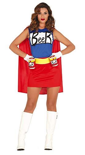 shoperama Damen-Kostüm Simpsons Bierfrau Kleid mit Dosenhalter-Gürtel Duff Beer Man Woman Biermann Bier-Mann Bier-Frau, Größe:L