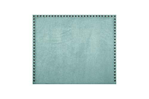 Cabecero de Cama Modelo CASTIZO tapizado en Tela Nido y con Tachuelas en Color Cobre. Altura 120cm. Color Agua Verde. para Cama de 150 (Medidas 160x120x8) Pro Elite.